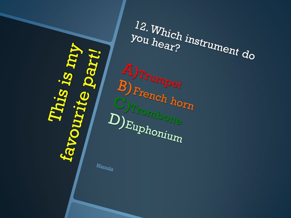 This is my favourite part. 12. Which instrument do you hear.