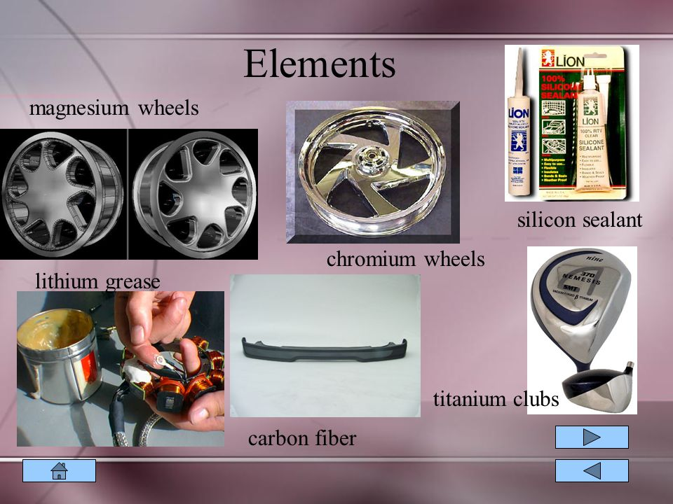 Elements magnesium wheels chromium wheels silicon sealant lithium grease carbon fiber titanium clubs