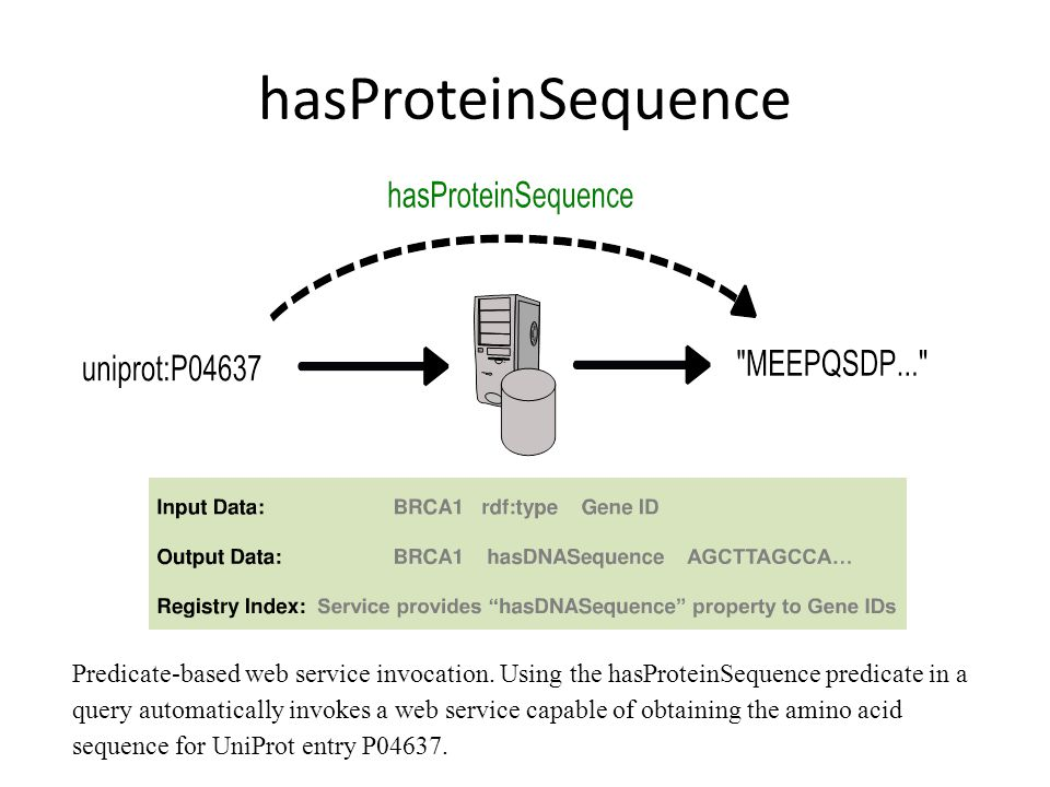 hasProteinSequence Predicate-based web service invocation.