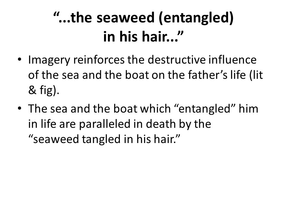 ...the seaweed (entangled) in his hair... Imagery reinforces the destructive influence of the sea and the boat on the father's life (lit & fig).