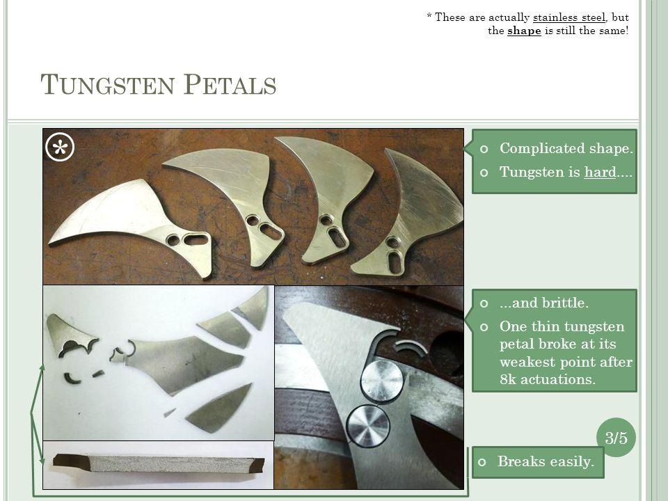 T UNGSTEN P ETALS Complicated shape. Tungsten is hard.......and brittle.