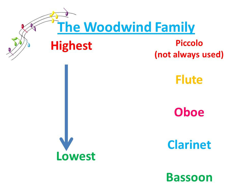 The Woodwind Family Highest Lowest Piccolo (not always used) Flute Oboe Clarinet Bassoon