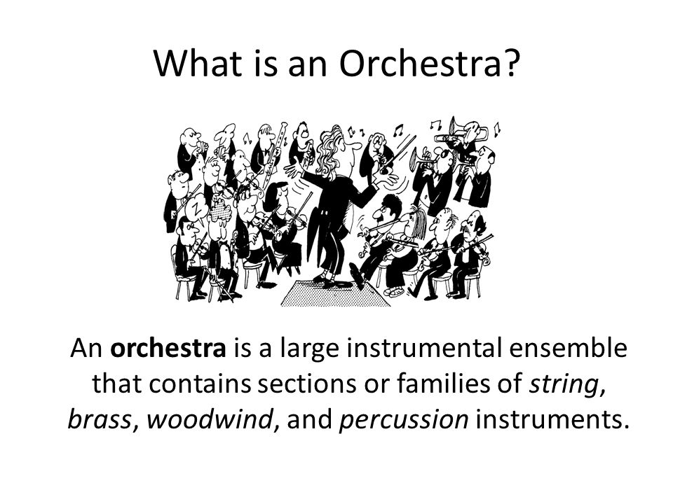 What is an Orchestra? An orchestra is a large instrumental ensemble that contains sections or families of string, brass, woodwind, and percussion inst