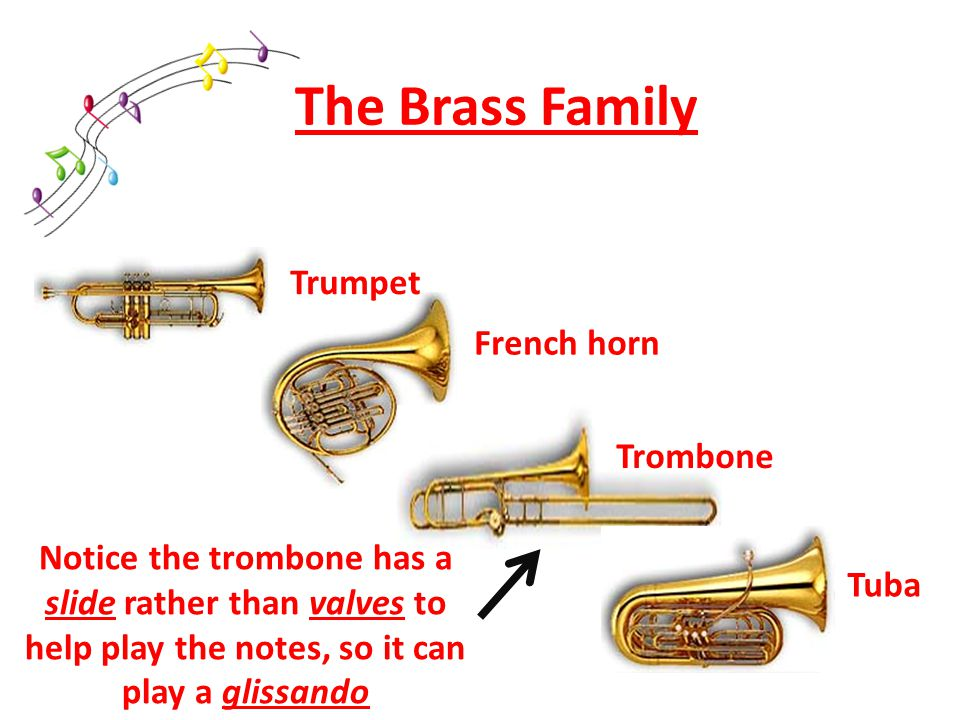 The Brass Family Trumpet French horn Trombone Tuba Notice the trombone has a slide rather than valves to help play the notes, so it can play a glissando