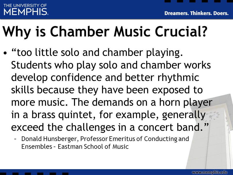 Why is Chamber Music Crucial. too little solo and chamber playing.