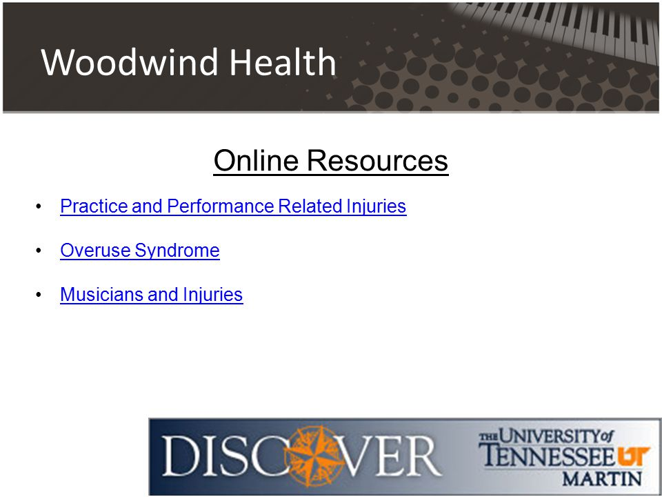 Woodwind Health Practice and Performance Related Injuries Overuse Syndrome Musicians and Injuries Online Resources