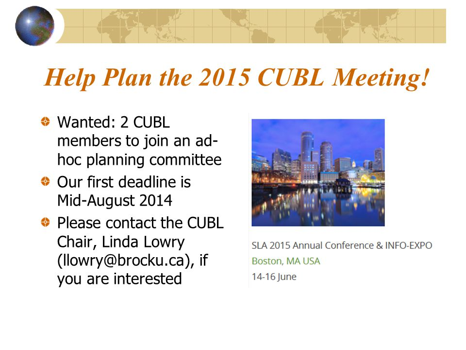 Help Plan the 2015 CUBL Meeting.