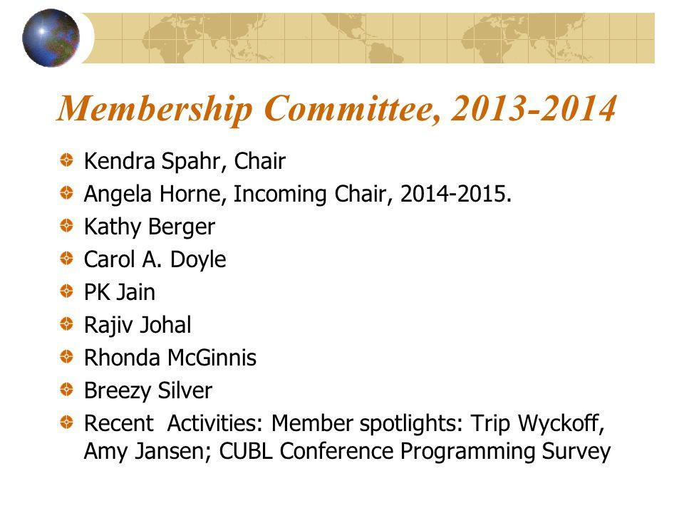 Membership Committee, 2013-2014 Kendra Spahr, Chair Angela Horne, Incoming Chair, 2014-2015.