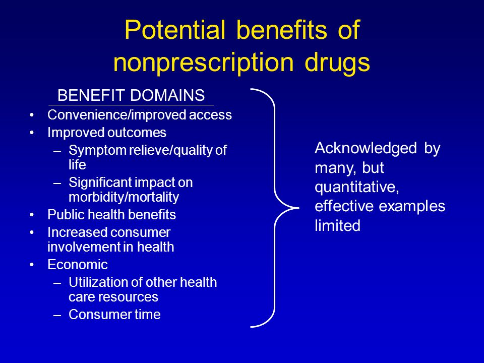Potential benefits of nonprescription drugs BENEFIT DOMAINS Convenience/improved access Improved outcomes –Symptom relieve/quality of life –Significant impact on morbidity/mortality Public health benefits Increased consumer involvement in health Economic –Utilization of other health care resources –Consumer time Acknowledged by many, but quantitative, effective examples limited