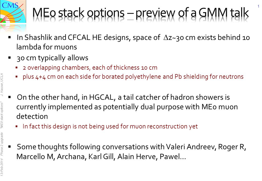 13-Feb-2014 Phase 2 upgrade ME0 stack options J.