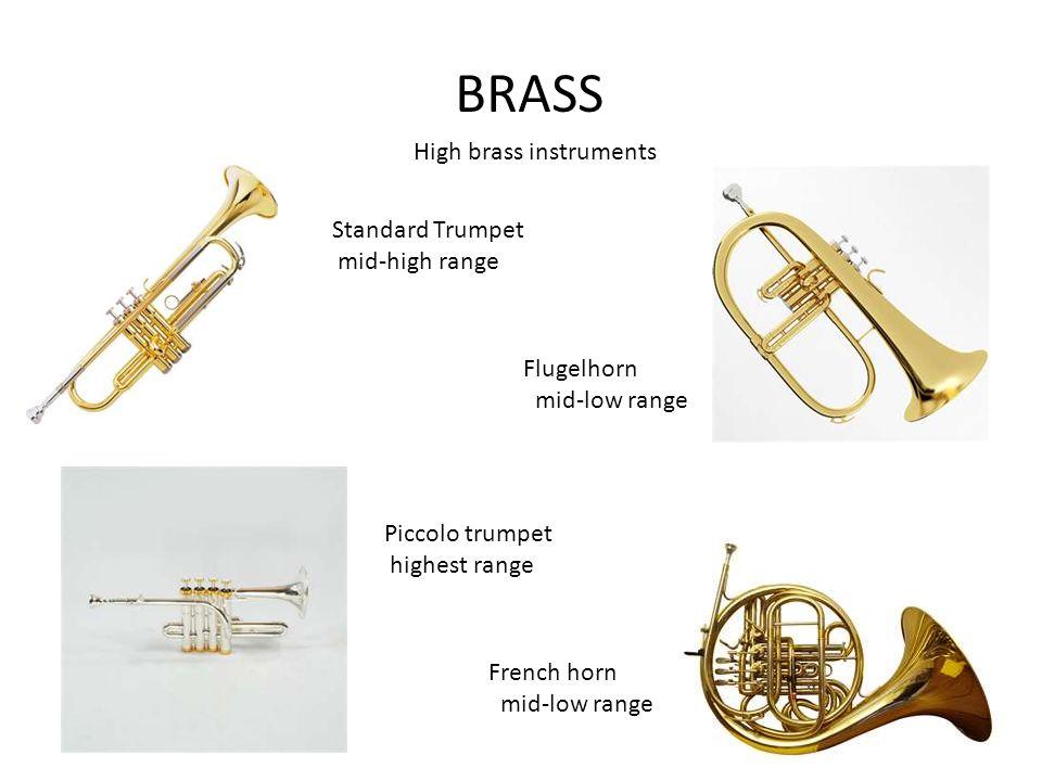 BRASS High brass instruments Standard Trumpet mid-high range Piccolo trumpet highest range Flugelhorn mid-low range French horn mid-low range