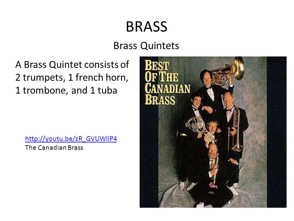 BRASS Brass Quintets A Brass Quintet consists of 2 trumpets, 1 french horn, 1 trombone, and 1 tuba http://youtu.be/zR_GVUWllP4 The Canadian Brass