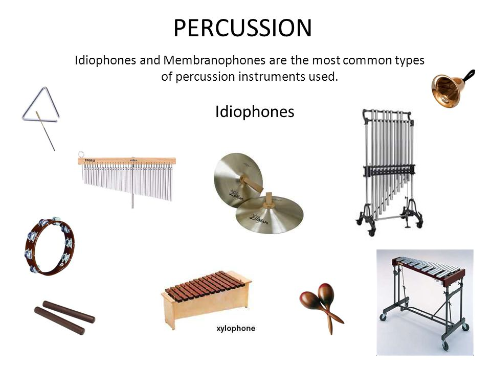 PERCUSSION Idiophones and Membranophones are the most common types of percussion instruments used.