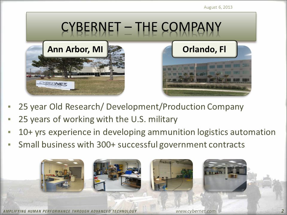 www.cybernet.com August 6, 2013 2 ▪ 25 year Old Research/ Development/Production Company ▪ 25 years of working with the U.S. military ▪ 10+ yrs experi