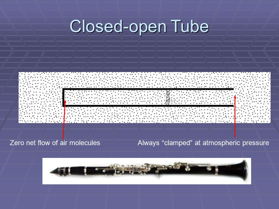 Open-open Tube Always clamped at atmospheric pressure