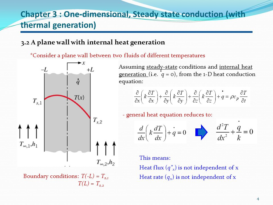 Chapter 3 : One-dimensional, Steady state conduction (with thermal generation) 5, for constant k and A 2 nd order DE: Integrate twice to get T(x) at x = -L, T(-L) = T s,1, at x = L, T(L) = T s,2 for boundary conditions: This gives, and Substituting the values for C 1 and C 2 into eq.