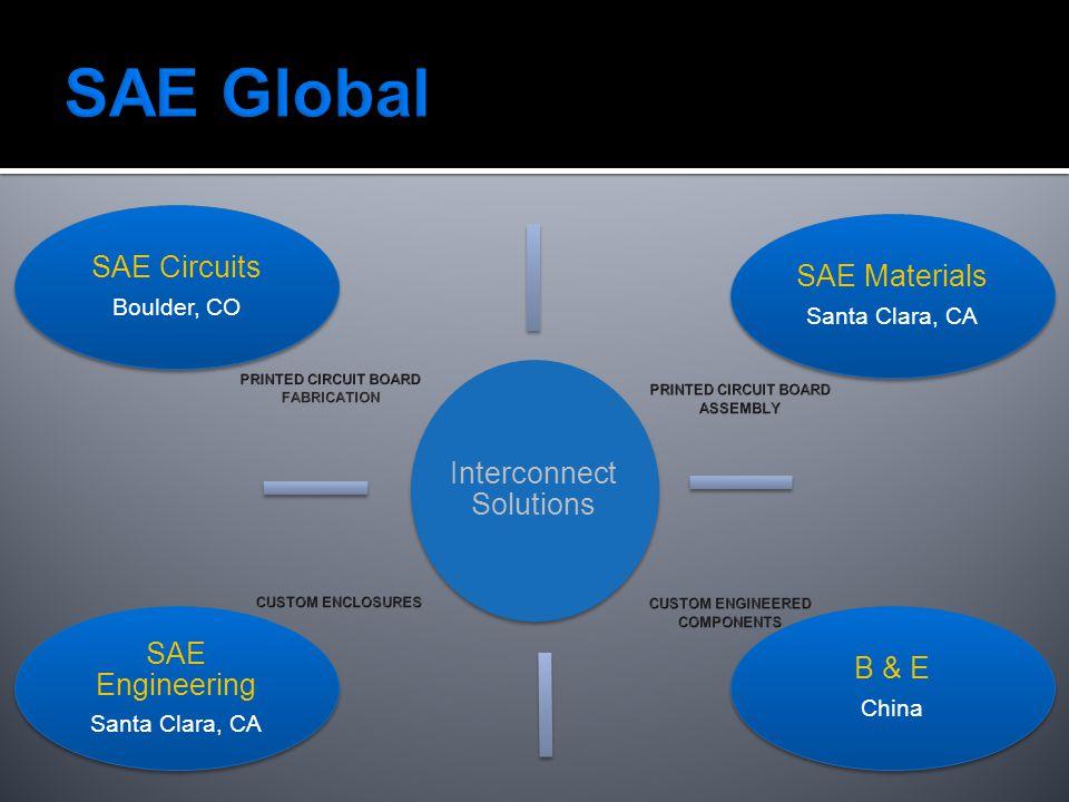 Interconnect Solutions SAE Circuits Boulder, CO SAE Materials Santa Clara, CA B & E China SAE Engineering Santa Clara, CA