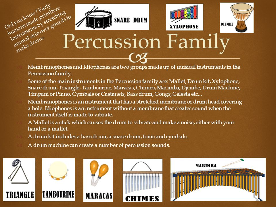   Membranophones and Idiophones are two groups made up of musical instruments in the Percussion family.  Some of the main instruments in the Percus