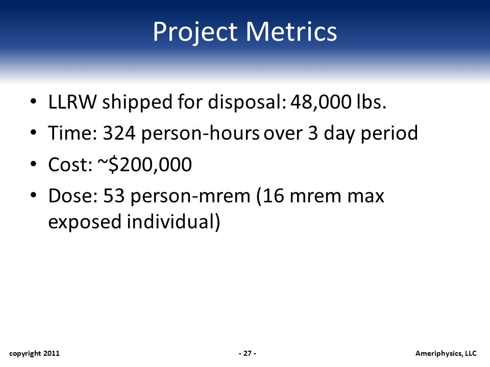 Project Metrics LLRW shipped for disposal: 48,000 lbs.