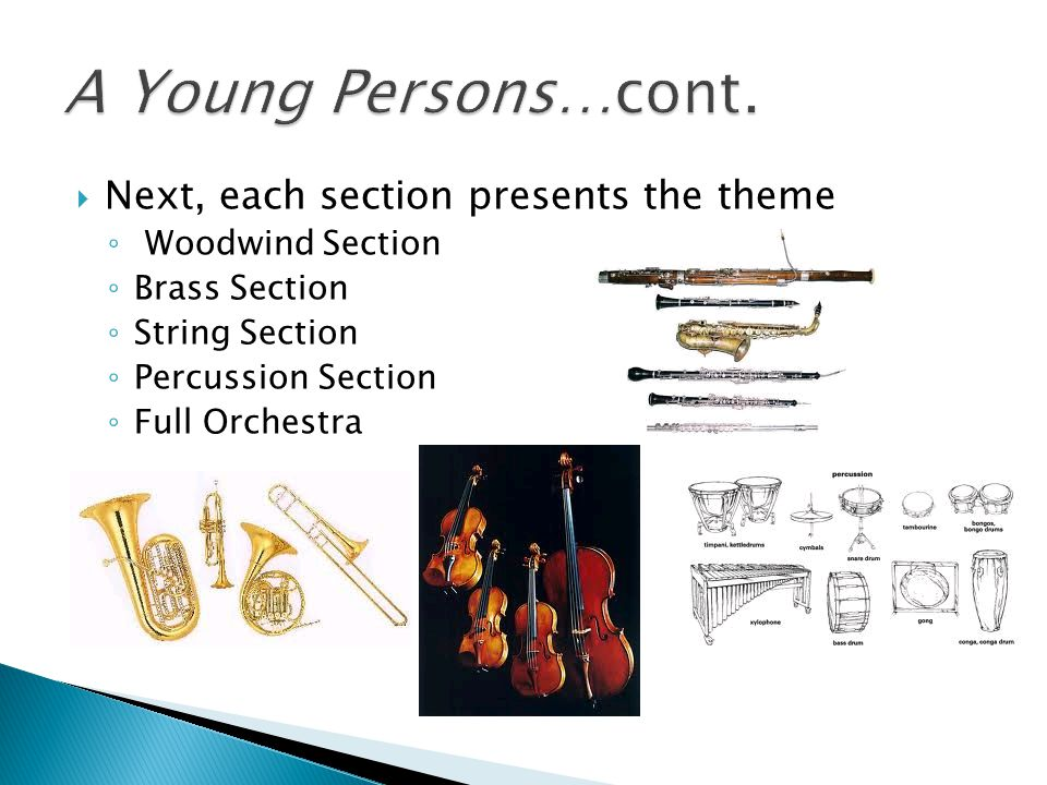  Next, each section presents the theme ◦ Woodwind Section ◦ Brass Section ◦ String Section ◦ Percussion Section ◦ Full Orchestra
