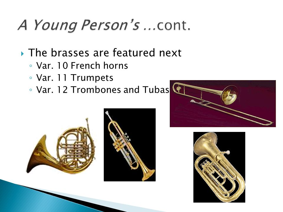  The brasses are featured next ◦ Var.10 French horns ◦ Var.