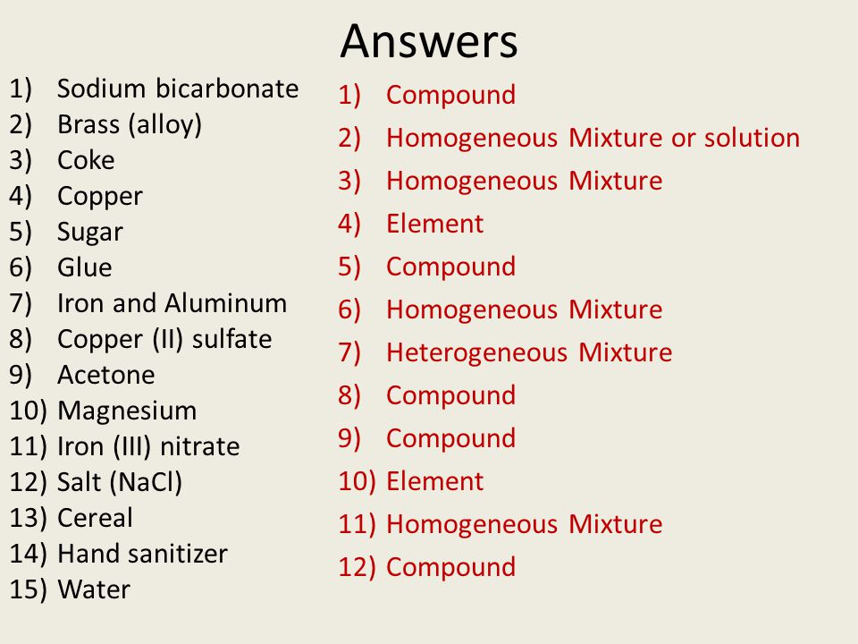 Answers 1)Sodium bicarbonate 2)Brass (alloy) 3)Coke 4)Copper 5)Sugar 6)Glue 7)Iron and Aluminum 8)Copper (II) sulfate 9)Acetone 10)Magnesium 11)Iron (III) nitrate 12)Salt (NaCl) 13)Cereal 14)Hand sanitizer 15)Water 1)Compound 2)Homogeneous Mixture or solution 3)Homogeneous Mixture 4)Element 5)Compound 6)Homogeneous Mixture 7)Heterogeneous Mixture 8)Compound 9)Compound 10)Element 11)Homogeneous Mixture 12)Compound