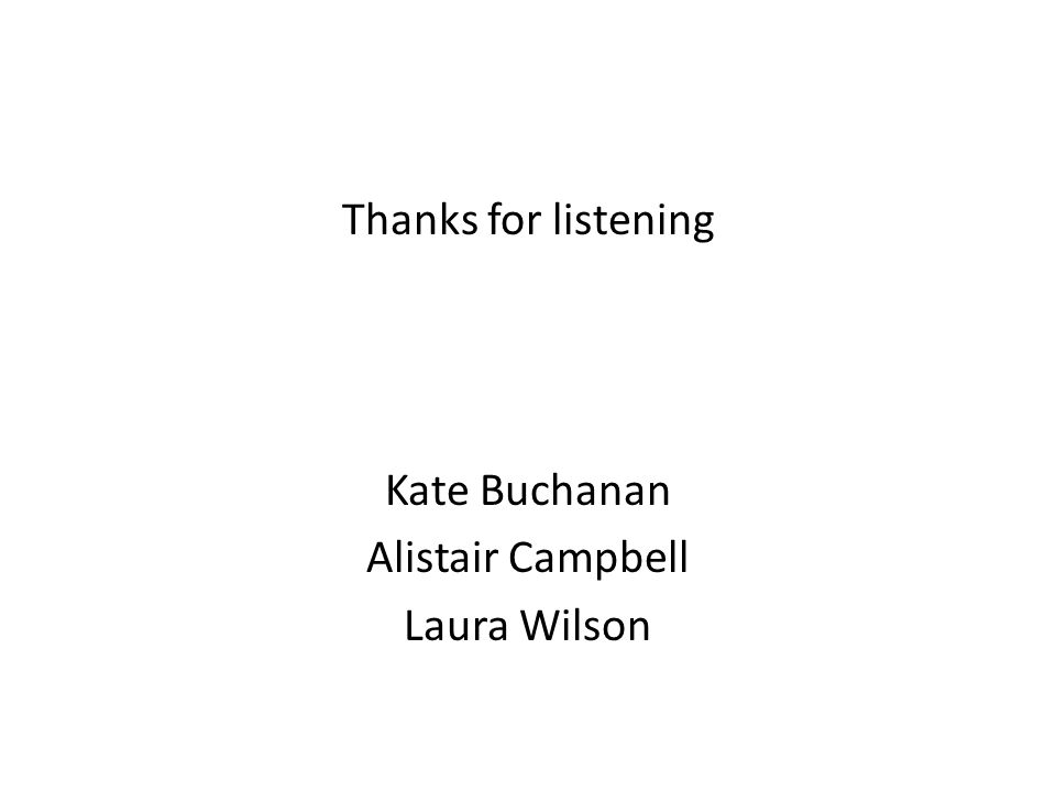 Thanks for listening Kate Buchanan Alistair Campbell Laura Wilson