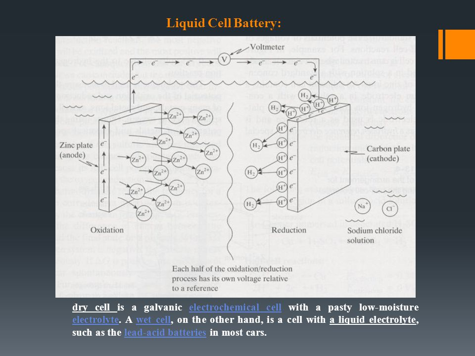 Liquid Cell Battery: dry cell is a galvanic electrochemical cell with a pasty low-moisture electrolyte. A wet cell, on the other hand, is a cell with