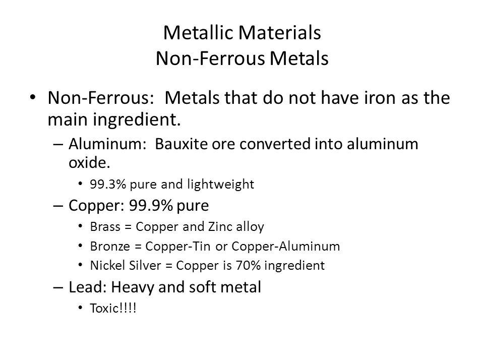 Metallic Materials Non-Ferrous Metals Non-Ferrous: Metals that do not have iron as the main ingredient.