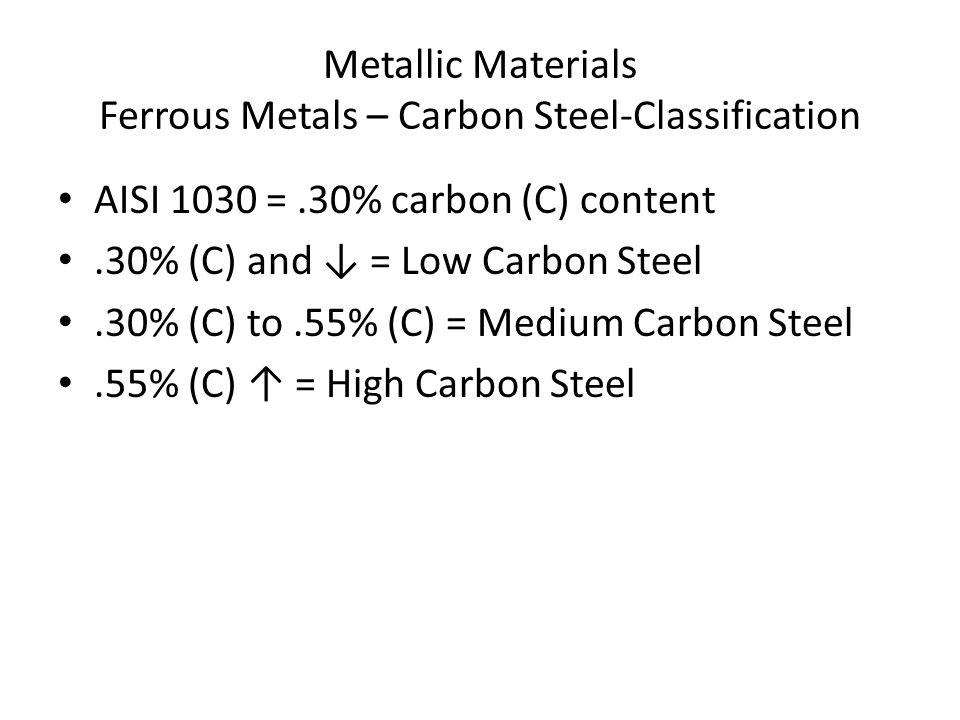 Metallic Materials Ferrous Metals – Carbon Steel-Classification AISI 1030 =.30% carbon (C) content.30% (C) and ↓ = Low Carbon Steel.30% (C) to.55% (C) = Medium Carbon Steel.55% (C) ↑ = High Carbon Steel