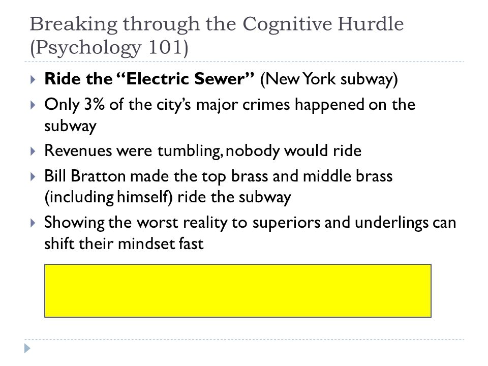 """Breaking through the Cognitive Hurdle (Psychology 101)  Ride the """"Electric Sewer"""" (New York subway)  Only 3% of the city's major crimes happened on"""