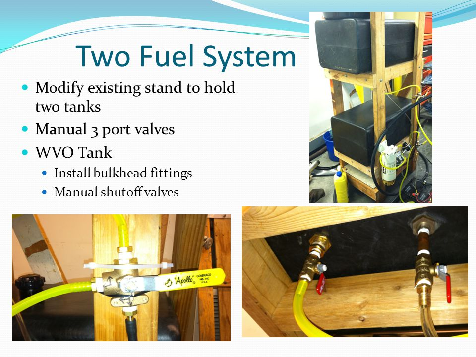 Two Fuel System Modify existing stand to hold two tanks Manual 3 port valves WVO Tank Install bulkhead fittings Manual shutoff valves