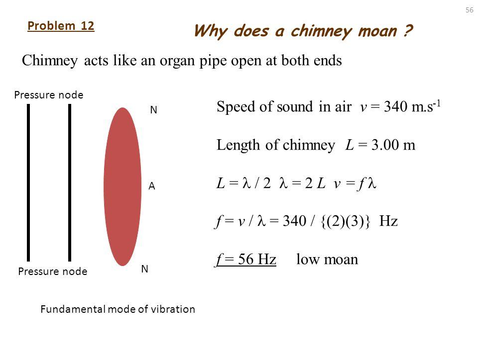 55 Solution 11 (alternative) 1 st resonance L 1 = 90.0 mm = 90.0×10 -3 m v = 343 m.s -1 f 1 = ? Hz = 4 L = 0.360 m v = f f 1 = v / = (343)/(0.36) Hz =