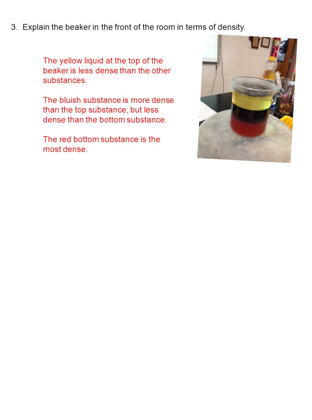 3. Explain the beaker in the front of the room in terms of density. The yellow liquid at the top of the beaker is less dense than the other substances