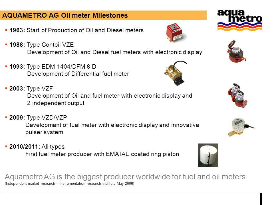 AQUAMETRO AG Oil meter Milestones  1963: Start of Production of Oil and Diesel meters  1988: Type Contoil VZE Development of Oil and Diesel fuel met