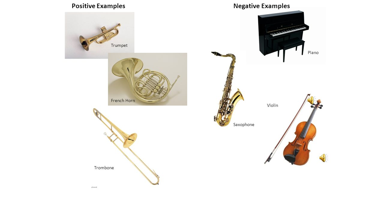 Positive ExamplesNegative Examples Trombone Piano Trumpet French Horn Saxophone