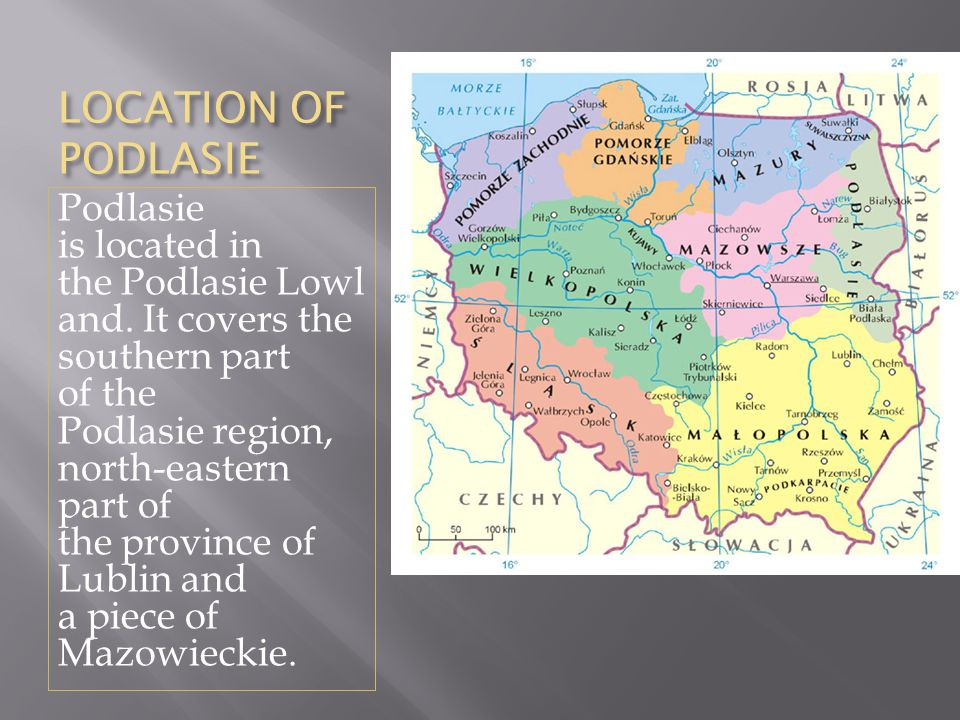 LOCATION OF PODLASIE Podlasie is located in the Podlasie Lowl and. It covers the southern part of the Podlasie region, north-eastern part of the provi