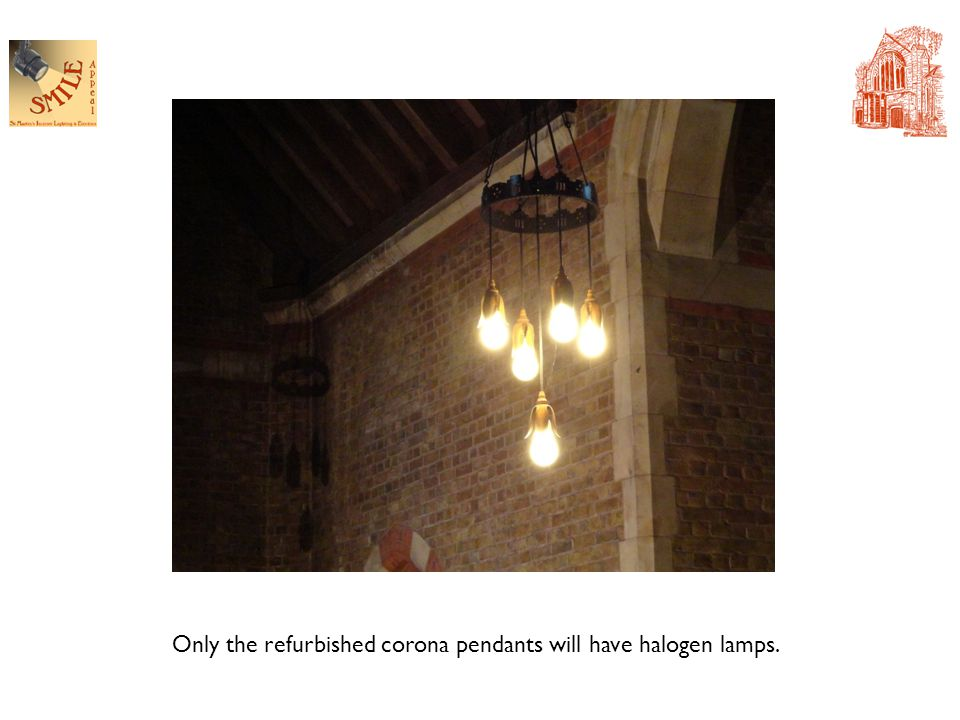 Only the refurbished corona pendants will have halogen lamps.