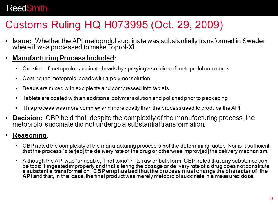 ReedSmith Customs Ruling HQ H073995 (Oct.