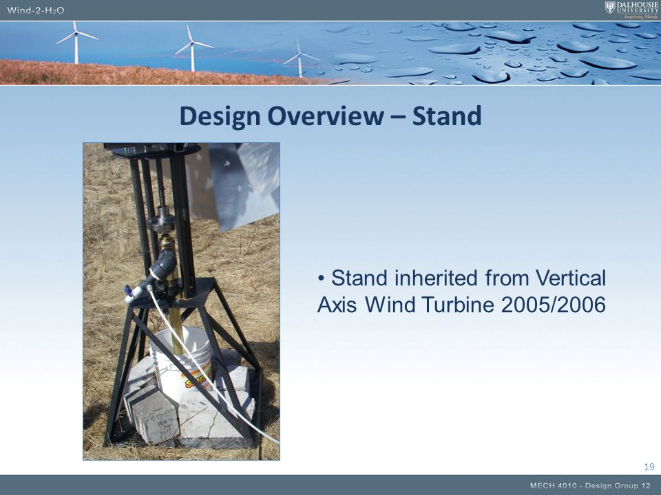 Design Overview – Stand 19 Stand inherited from Vertical Axis Wind Turbine 2005/2006