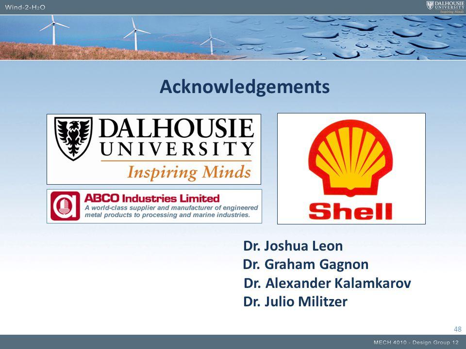 Acknowledgements Dr. Joshua Leon Dr. Graham Gagnon Dr. Alexander Kalamkarov Dr. Julio Militzer 48
