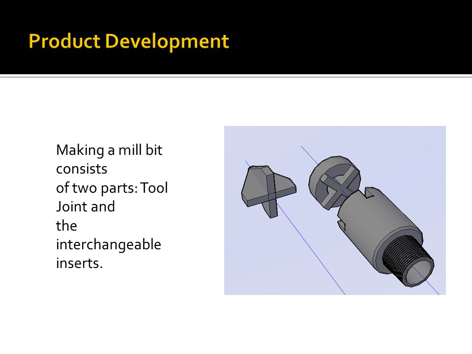 Making a mill bit consists of two parts: Tool Joint and the interchangeable inserts.