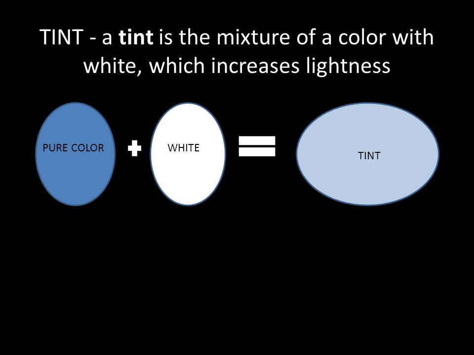 PURE COLORWHITE TINT TINT - a tint is the mixture of a color with white, which increases lightness