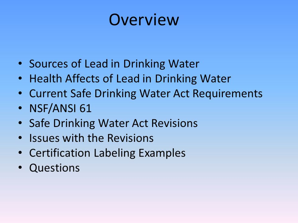 Safe Drinking Water Act Revision Exemptions 1417(a)(4)(A) – pipes, pipe fittings, plumbing fittings, or fixtures, including backflow preventers, that are used exclusively for non-potable services such as manufacturing, industrial processing, irrigation, outdoor watering.