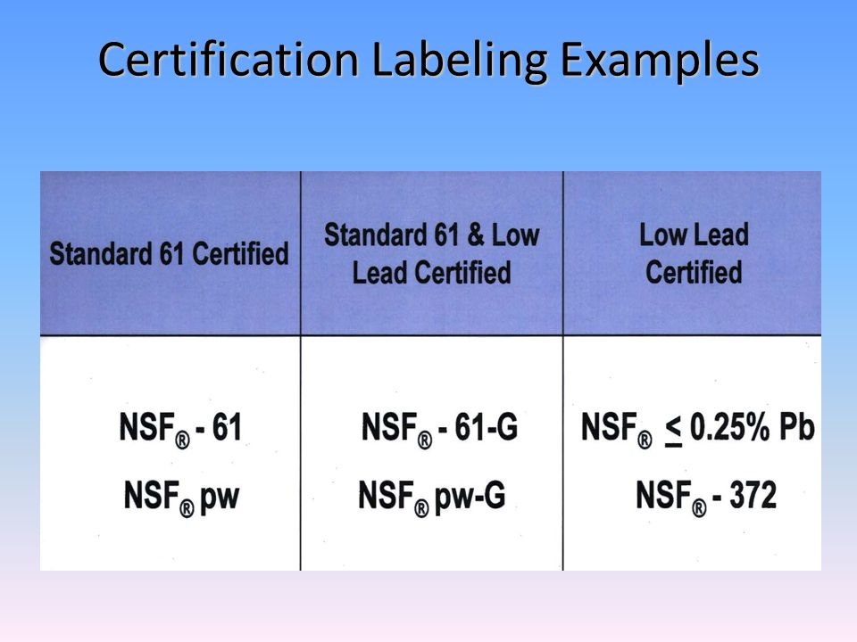 Certification Labeling Examples