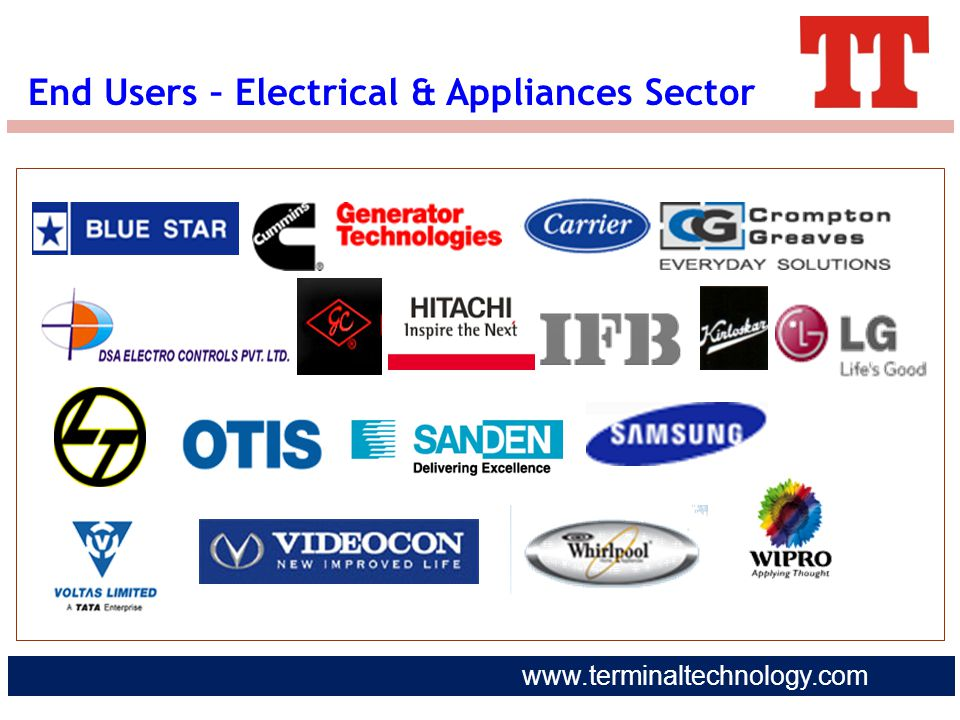 www.terminaltechnology.com End Users – Electrical & Appliances Sector