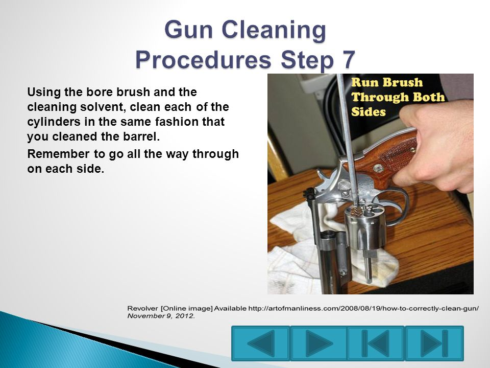 Using the bore brush and the cleaning solvent, clean each of the cylinders in the same fashion that you cleaned the barrel.