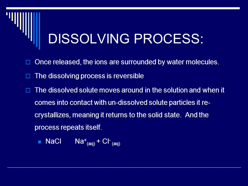 DISSOLVING PROCESS:  Once released, the ions are surrounded by water molecules.