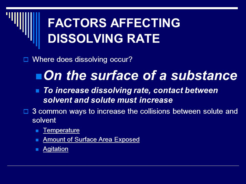 FACTORS AFFECTING DISSOLVING RATE  Where does dissolving occur.