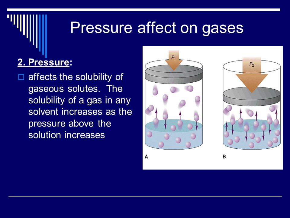 Pressure affect on gases 2. Pressure:  affects the solubility of gaseous solutes.